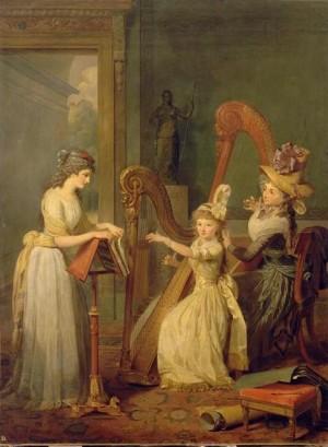 la leçon de harpe avec mme de Genlis par Giroust